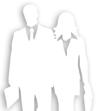 Silhouette of business man & women